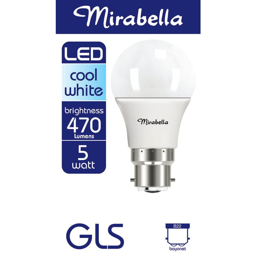 Mirabella LED GLS Globe 5.5W BC Cool White