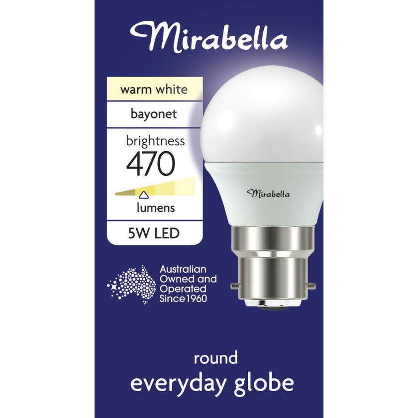 Mirabella LED Fancy Round Globe 5.5W BC Warm White