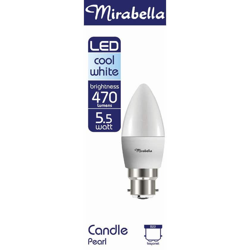 Mirabella LED Candle Globe 5.5W BC Cool White