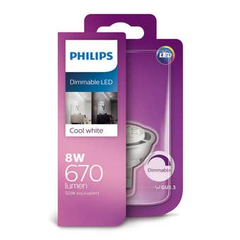 Philips Dimmable LED Downlight MR16 8W 670lm Cool White