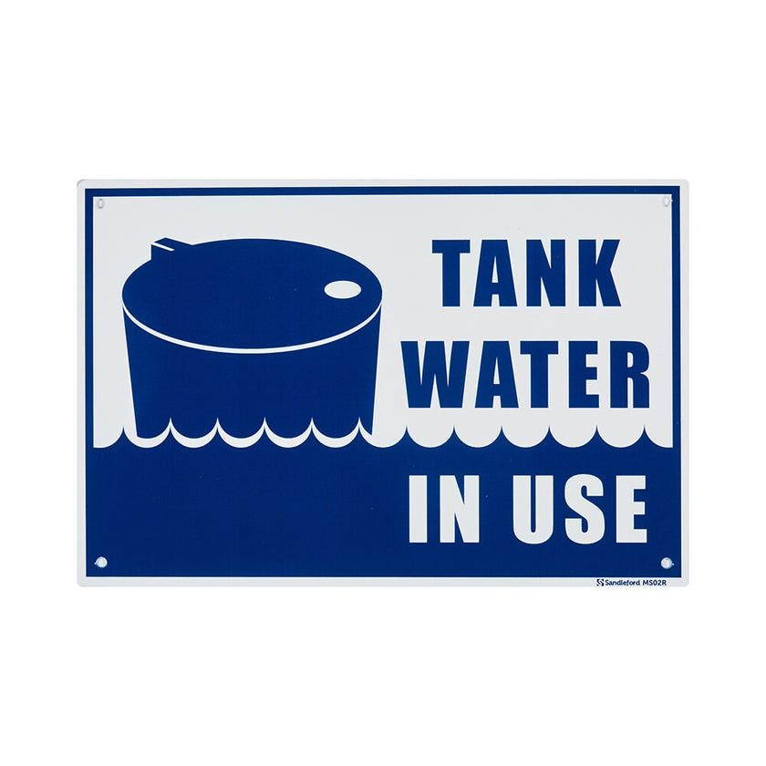 """Sandleford """"Tank Water In Use"""" Sign Plastic 300 x 200mm"""