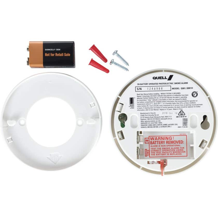 Quell Photoelectric Smoke Alarm for Bedroom/Hallway with Hush/Test - twin pack