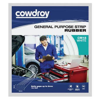 Cowdroy General Purpose Strip Rubber White 8 x 15mm x 2m
