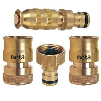 "Neta Brass Hose Fitting 4 Set 3/4"" 12mm"