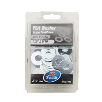 "Zenith Flat Washers Zinc Plated 3/8"" M10 - 50 Pack"