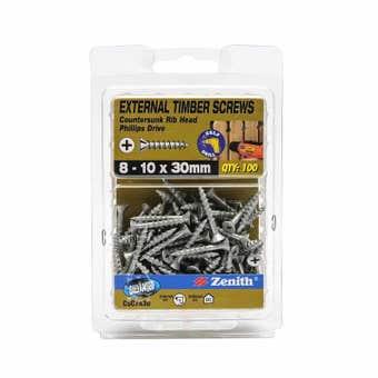 Zenith External Timber Screws Galvanised 8G x 30mm - 100 Pack