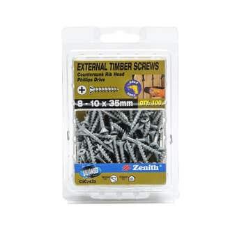 Zenith External Timber Screws Galvanised 8G x 35mm - 100 Pack