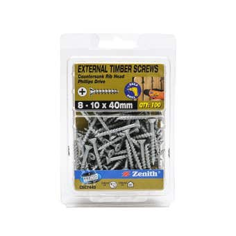 Zenith External Timber Screws Galvanised 8G x 40mm - 100 Pack