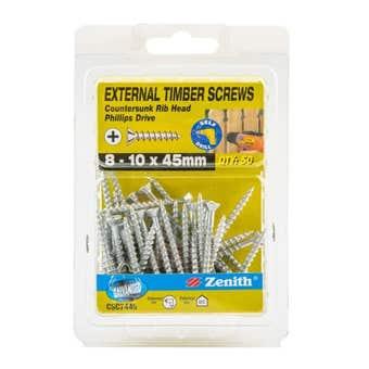 Zenith External Timber Screws Galvanised 8G x 45mm - 50 Pack