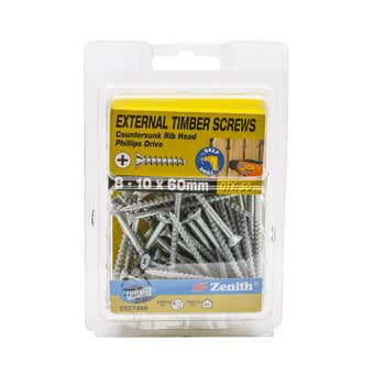 Zenith External Timber Screws Galvanised 8G x 60mm - 50 Pack