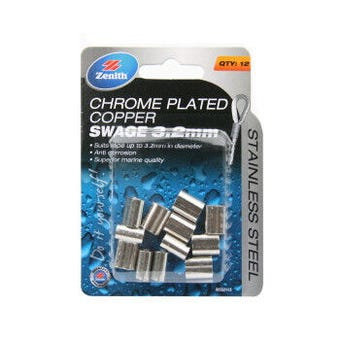 Zenith Swage Chrome Plated Copper Stainless Steel 3mm - 12 Pack