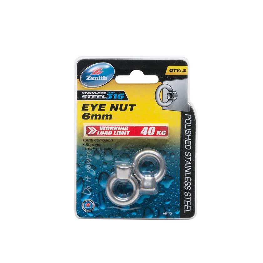 Zenith Eye Nut Stainless Steel 6mm - 2 Pack
