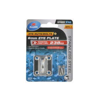 Zenith Square Eye Plates 6mm Stainless Steel - 1 Pack