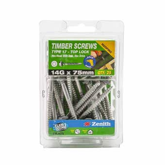 Zenith Timber Screws Top Lock with Seal Galvanised 14G x 75mm - 25 Pack