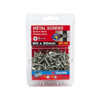 Zenith Metal Screws Button Head Galvanised 8G x 20mm - 100 Pack