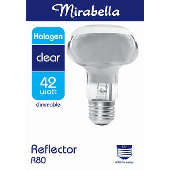Mirabella Halogen Reflector Globe R80 42W ES Clear