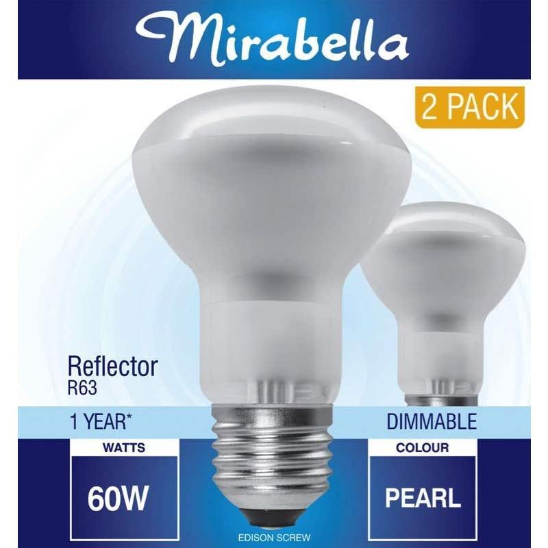 Mirabella Halogen Reflector Globe R63 60W ES Pearl - 2 Pack
