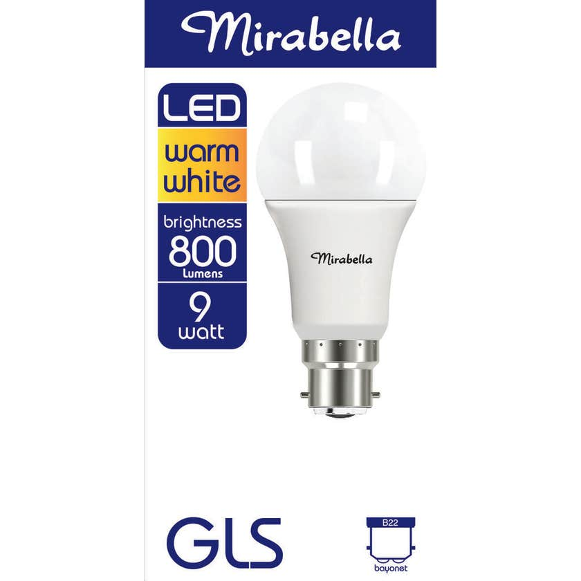 Mirabella LED GLS Globe 9W BC Warm White