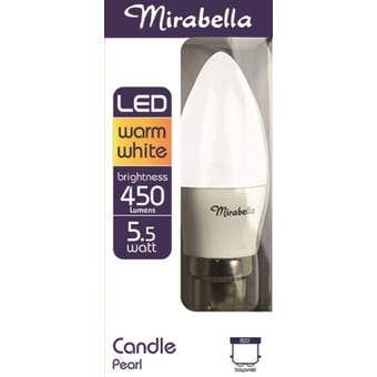 Mirabella LED Candle Globe 5.5W BC Warm White