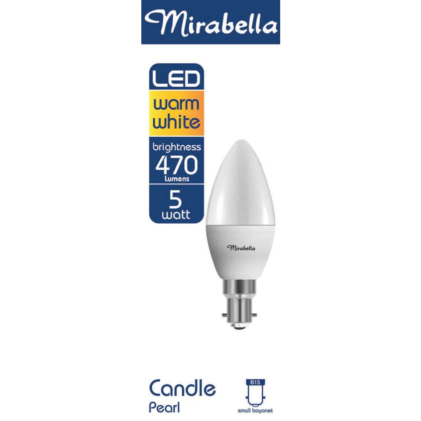 Mirabella LED Candle Globe 5.5W SBC Warm White
