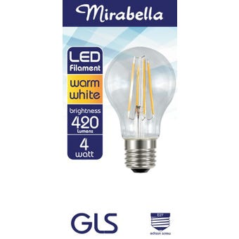 Mirabella LED Filament GLS Globe 4W ES Warm White