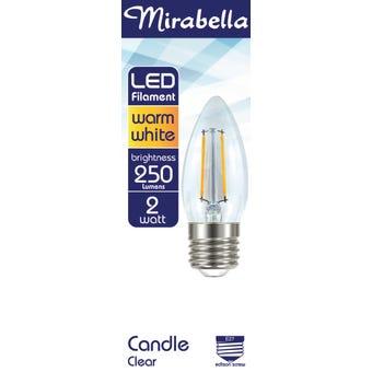 Mirabella LED Globe Filament Candle 2W ES Warm White
