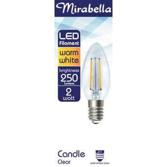 Mirabella LED Filament Candle Globe 2W SES Warm White