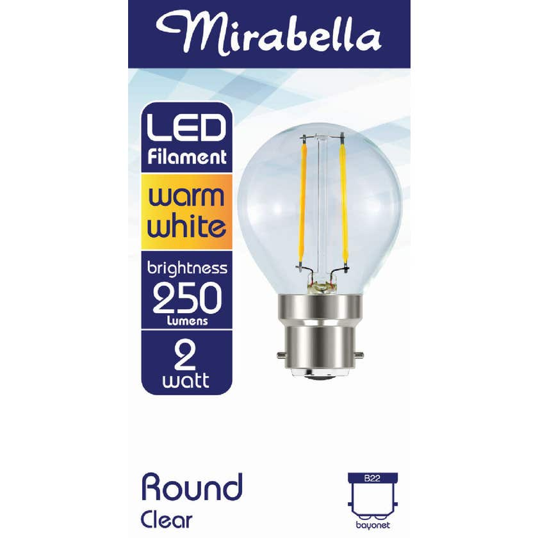 Mirabella LED Filament Round Globe 2W BC Warm White