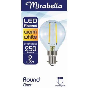 Mirabella LED Filament Round Globe 2W SBC Warm White