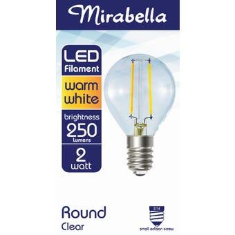 Mirabella LED Filament Globe 2W SES Warm White