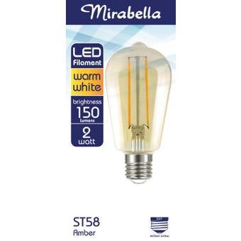 Mirabella LED Filament ST58 Globe 2W ES Warm White