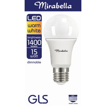 Mirabella LED GLS Dimmable Globe 15w ES Warm White
