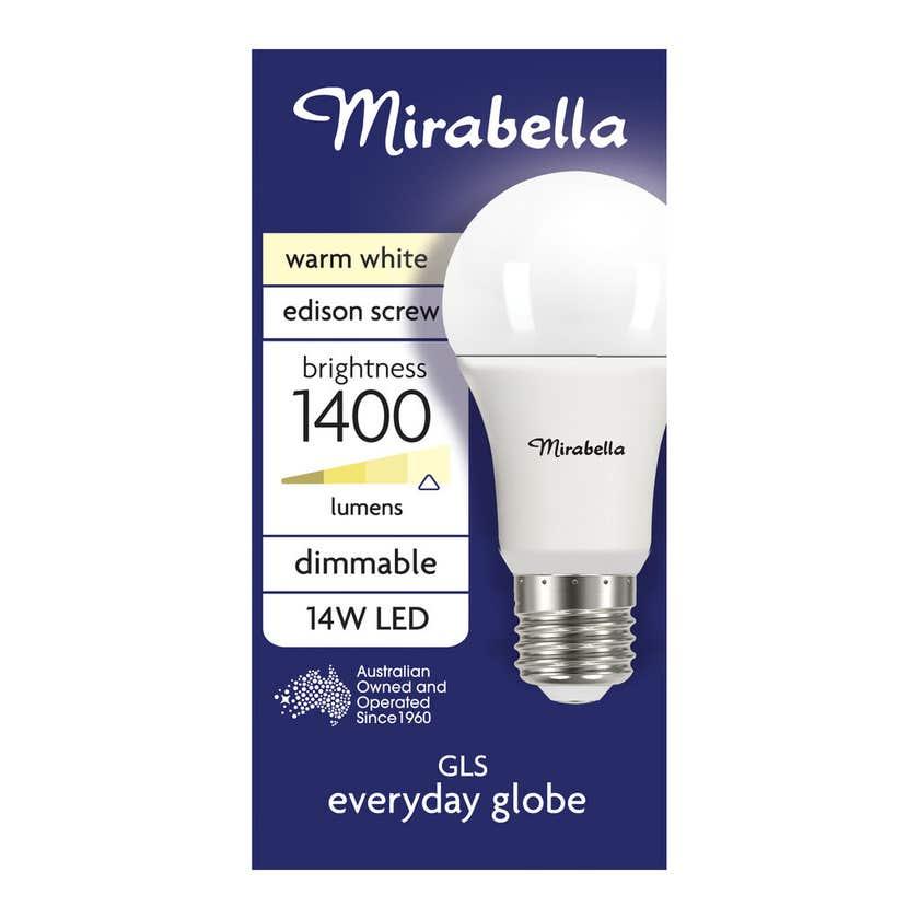 Mirabella LED GLS Dimmable Globe 14W ES Warm White