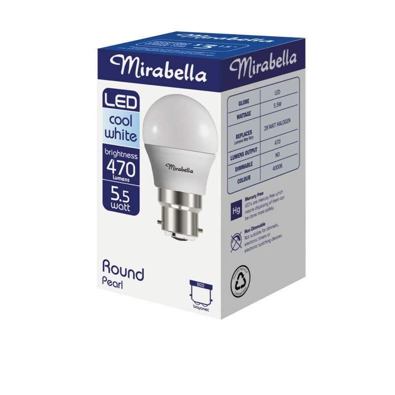 Mirabella LED Fancy Round Globe 5.5W BC Cool White