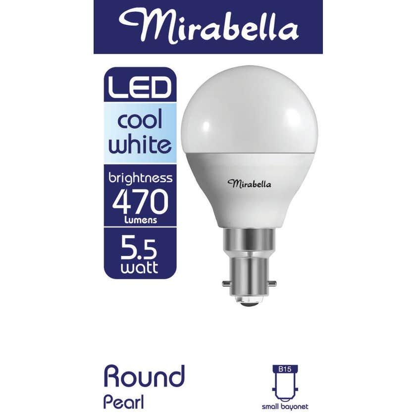 Mirabella LED Fancy Round Globe 5.5W SBC Cool White