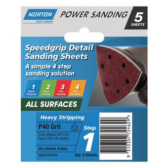 Norton Sanding Sheet 93 x 93mm x 6H P40 Grit - 5 Pk
