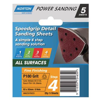Norton Sanding Sheet 93 x 93mm x 6H P180 Grit - 5 Pk