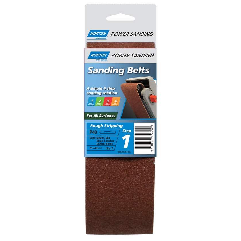 Norton Sanding Belt Cloth 75 x 457mm R219P P40 Grit - 2 Pk