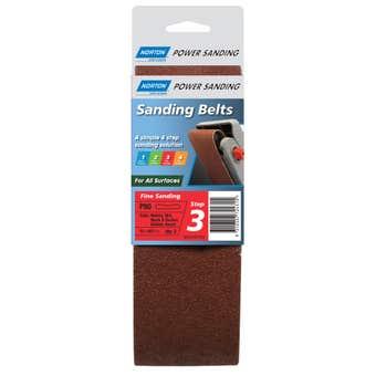 Norton Sanding Belt Cloth 75 x 457mm R219P P80 Grit - 2 Pk