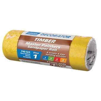 Norton Painters Sandpaper Roll P40 Grit 115mm x 5m