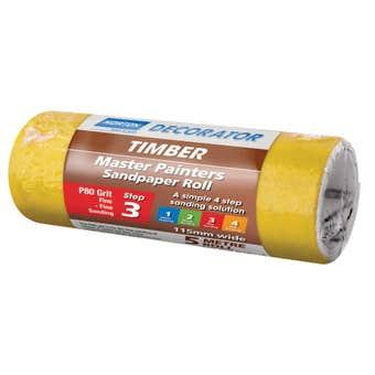 Norton Painters Sandpaper Roll P80 Grit 115mm x 5m