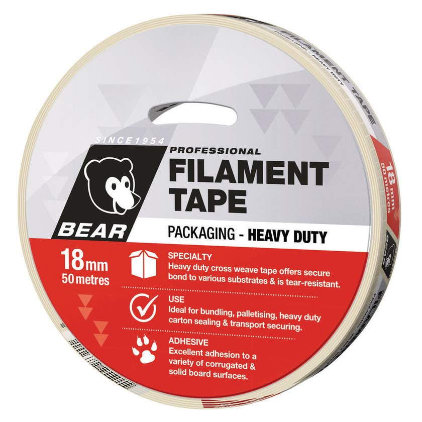 Bear Cross Weave Filament Tape 18mm x 50m