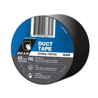 Bear Duct Tape Black PVC 48mm x 30m