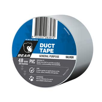 Bear Duct Tape Silver PVC 48mm x 30m