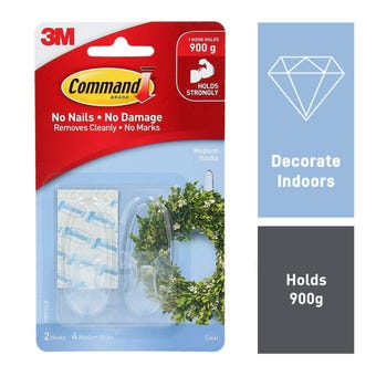 Command Medium Hook Clear - 2 Pack