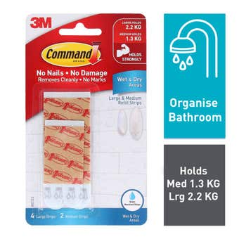 Command Wet Area Strips Medium and Large - 6 Pack