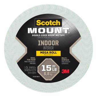 Scotch-Mount Indoor Double-Sided Mounting Tape Mega Roll 19mm x 8.89m