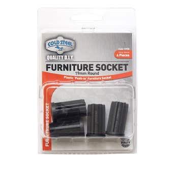Cold Steel Furniture Socket Round 19mm - 4 Pack