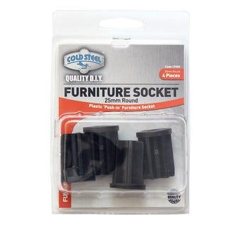 Cold Steel Furniture Socket Round 25mm - 4 Pack