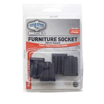 Cold Steel Furniture Socket Square 25mm - 4 Pack